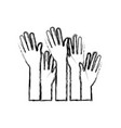set several arms hands gesture on blurred vector image vector image