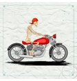 Skeleton riding vintage Motorcycle vector image vector image