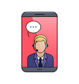 support phone operator in headset vector image vector image