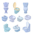 toilet bowl and seat toiletries flush and vector image