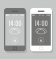 Two smartphone - black and white vector image vector image