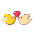 wedding doves with heart icon cartoon style vector image