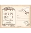 Vintage postcard save the date background vector image