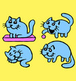 cute blue cats emoticons set isolated vector image