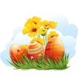 Easter eggs with flowers and grass vector image