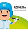 baseball championship badge player with bats vector image