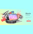 3d movie theater online cinema watching vector image vector image