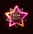 abstract neon star shiny plastic star shape plate vector image vector image