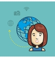 avatar woman with planet and media and network vector image vector image