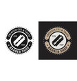barbershop badge emblem with blade razor vector image vector image