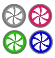 bicycle wheels different color set on white vector image vector image