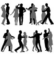 black set silhouettes dancing on white background vector image vector image