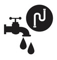 black silhouette house faucet with drops and inco vector image vector image