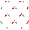 blue and pink birds with hearts pattern seamless vector image vector image
