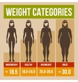 Body mass index retro poster vector image vector image