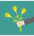 Businessman hand holding bouquet of idea light vector image vector image
