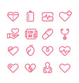 cardiology medicine line icons vector image vector image
