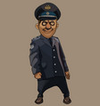cartoon funny smiling man in a dark gray police vector image vector image