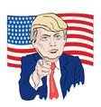 cartoon portrait of donald trump tie points with vector image vector image