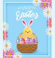 chick with eggs decoration inside basket and vector image vector image