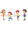 Children and jumprope vector image vector image