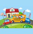 children riding on school bus vector image vector image