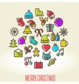 Christmas background with set icons