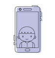color smartphone technology with boy person vector image