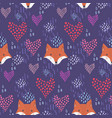 cute dark pattern with fox heads and hearts vector image vector image