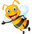 cute flying bee presenting with simple gradient vector image vector image