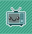 cute kawaii smiling retro television cartoon icon vector image