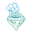 degraded line couple cat animal in float island vector image vector image
