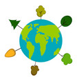 earth with tree icons earth day vector image