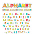 english color alphabet numbers and symbols vector image