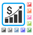 financial bar chart framed icon vector image vector image