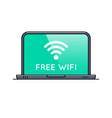 free wifi area symbol on laptop screen vector image