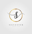 gold elegant initial letter type s vector image vector image