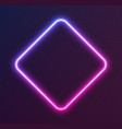 gradient neon rhombus blue-pink glowing border vector image vector image