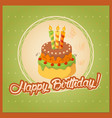 green vintage birthday card with cake tier on vector image vector image