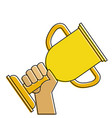 hands human with trophy cup winner icon vector image vector image