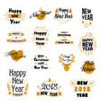 happy new year hand drawn emblems set vector image vector image