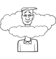 head in the clouds saying cartoon vector image vector image