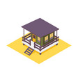 hotel bungalow isometric green house with wooden vector image vector image