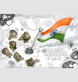 indian army soilder saluting falg of india on vector image vector image