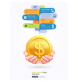 investment plan conceptual two hands with gold vector image