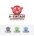 logo of vintage wings with letter a vector image vector image