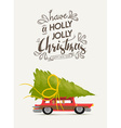 merry christmas and new year retro car design vector image