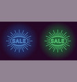 neon icon of blue and green sale badge vector image vector image