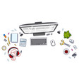 office desk workspace top view with pc computer vector image