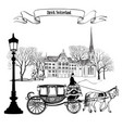 old city street cityscape buildings carriage vector image